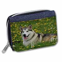 Alaskan Malamute Dog Girls/Ladies Denim Purse Wallet Birthday Gift Idea