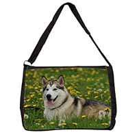 Alaskan Malamute Dog Large Black Laptop Shoulder Bag School/College