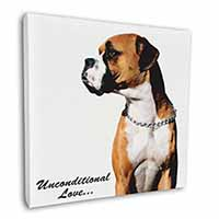 "Boxer Dog With Love 12""x12"" Wall Art Canvas Picture"