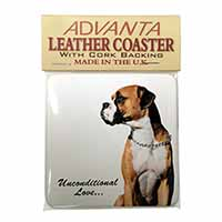 Boxer Dog With Love Single Leather Photo Coaster Animal Breed Gift