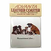 Boxer Dog-Love Single Leather Photo Coaster Perfect Gift