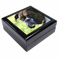 Brindle and White Boxer Dog Keepsake/Jewel Box Birthday Gift Idea