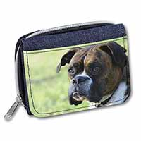 Brindle and White Boxer Dog Girls/Ladies Denim Purse Wallet Birthday Gift Idea