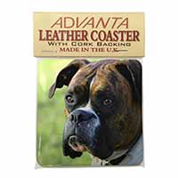 Brindle and White Boxer Dog Single Leather Photo Coaster Perfect Gift