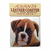 Red and White Boxer Puppy Single Leather Photo Coaster Animal Breed Gift