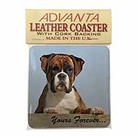 "Boxer Dog ""Yours Forever..."" Single Leather Photo Coaster Perfect Gift"