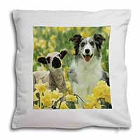 Border Collie Dog and Lamb Soft Velvet Feel Cushion Cover With Pillow Inner