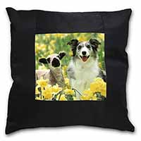 Border Collie Dog and Lamb Black Border Satin Feel Cushion Cover+Pillow Insert