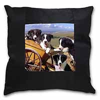 Border Collie Black Border Satin Feel Scatter Cushion