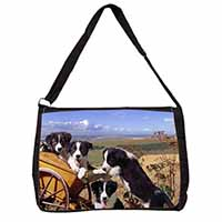 Border Collie Large Black Laptop Shoulder Bag School/College