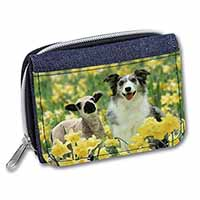 Border Collie Dog and Lamb Girls/Ladies Denim Purse Wallet Birthday Gift Idea