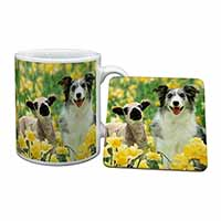 Border Collie Dog and Lamb Mug+Coaster Birthday Gift Idea