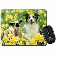 Border Collie Dog and Lamb Computer Mouse Mat Birthday Gift Idea