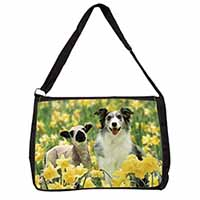 Border Collie Dog and Lamb Large Black Laptop Shoulder Bag School/College