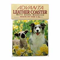 Border Collie Dog and Lamb Single Leather Photo Coaster Perfect Gift