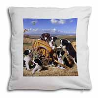 Border Collie in Wheelbarrow Soft Velvet Feel Cushion Cover With Pillow Inner