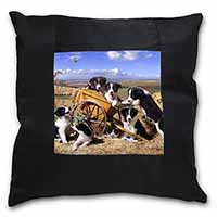 Border Collie in Wheelbarrow Black Border Satin Feel Cushion Cover+Pillow Insert