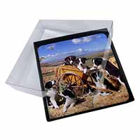 4x Border Collie in Wheelbarrow Picture Table Coasters Set in Gift Box