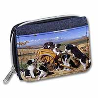Border Collie in Wheelbarrow Girls/Ladies Denim Purse Wallet Birthday Gift Idea