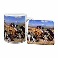 Border Collie in Wheelbarrow Mug+Coaster Birthday Gift Idea