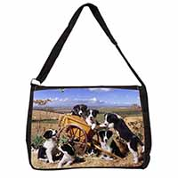 Border Collie in Wheelbarrow Large Black Laptop Shoulder Bag School/College