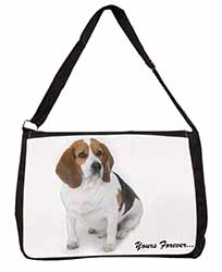 "Beagle Dog ""Yours Forever..."" Large Black Laptop Shoulder Bag School/College"
