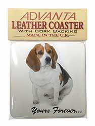 "Beagle Dog ""Yours Forever..."" Single Leather Photo Coaster Perfect Gift"