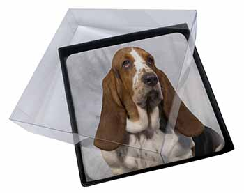 4x Basset Hound Dog Picture Table Coasters Set in Gift Box