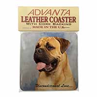 Bullmastiff Dog-With Love Single Leather Photo Coaster Perfect Gift