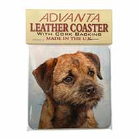 Border Terrier Single Leather Photo Coaster Animal Breed Gift