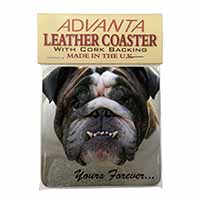 "Bulldog ""Yours Forever..."" Single Leather Photo Coaster Perfect Gift"