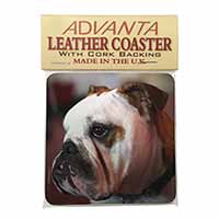 Bulldog Dog Single Leather Photo Coaster Perfect Gift