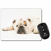 White Bulldog Computer Mouse Mat Birthday Gift Idea