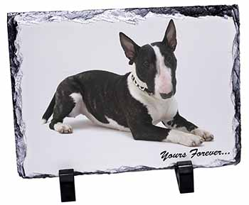 "Brindle and White Bull Terrier ""Yours Forever..."" Photo Slate Christmas Gift Ide"