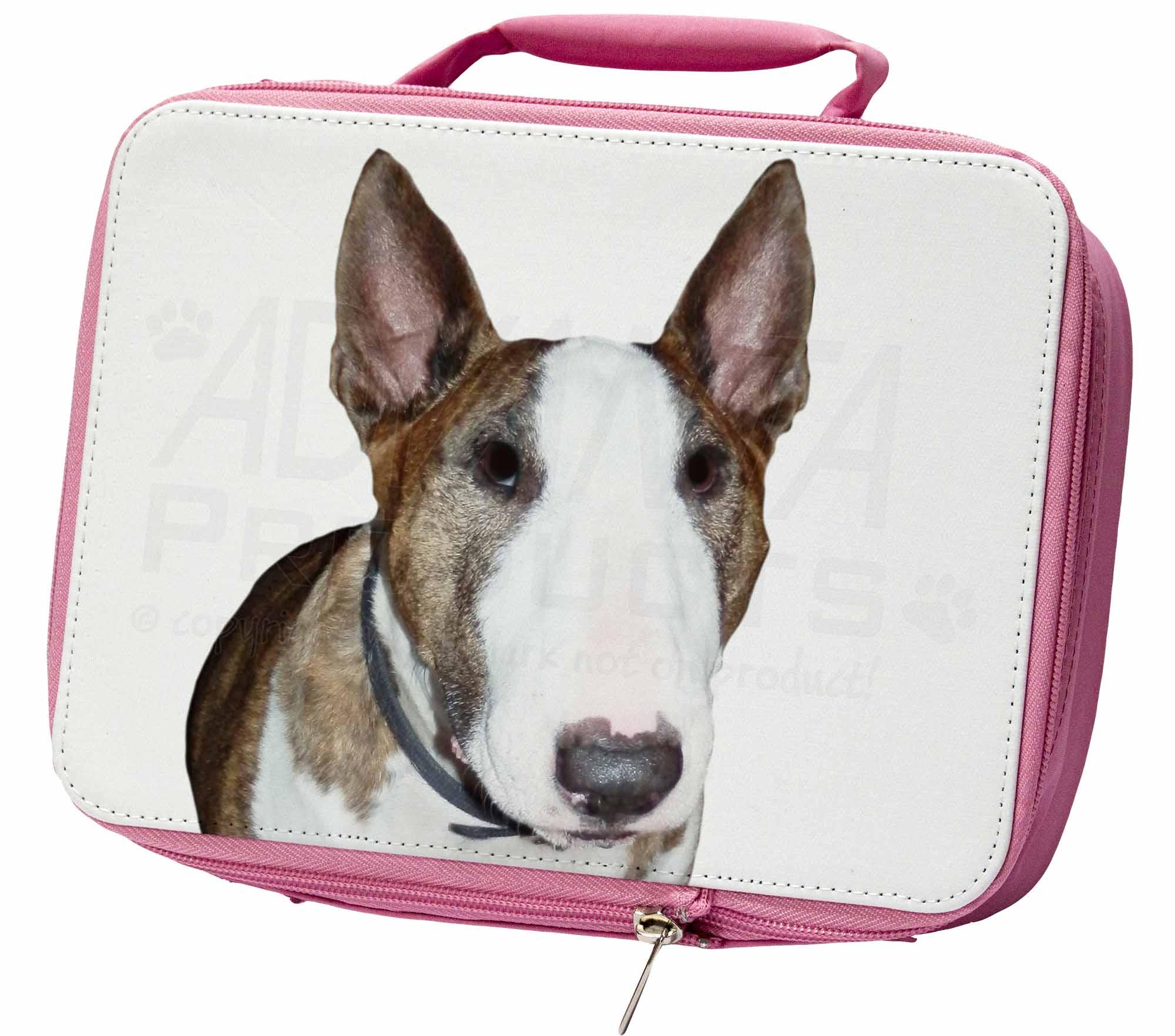 LA SUPERFICIE DI UN Bull Terrier ERMETICA rosa scatola del pranzo per scuola