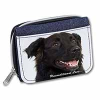 Black Border Collie With Love Girls/Ladies Denim Purse Wallet Christmas Gift Ide