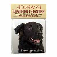 Black Border Collie With Love Single Leather Photo Coaster Perfect Gift
