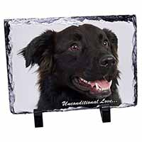 Black Border Collie With Love Photo Slate Christmas Gift Idea