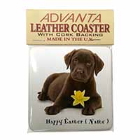 Personalised Name Labrador Single Leather Photo Coaster Perfect Gift