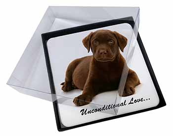 4x Chesapeake Bay Retriever-Love Picture Table Coasters Set in Gift Box