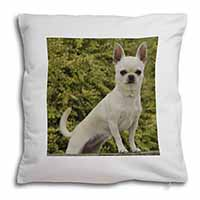 White Chihuahua Dog Soft Velvet Feel Scatter Cushion