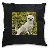 White Chihuahua Dog Black Border Satin Feel Scatter Cushion