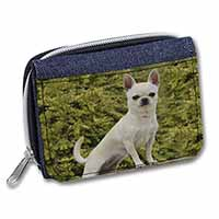 White Chihuahua Dog Girls/Ladies Denim Purse Wallet Birthday Gift Idea