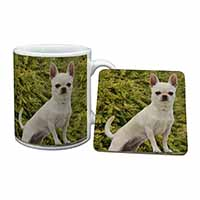 White Chihuahua Dog Mug+Coaster Birthday Gift Idea