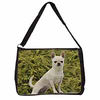 White Chihuahua Dog Large Black Laptop Shoulder Bag School/College