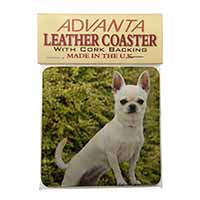 White Chihuahua Dog Single Leather Photo Coaster Perfect Gift