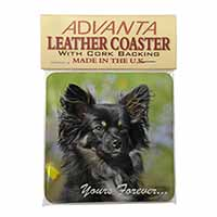 "Black Chihuahua ""Yours Forever..."" Single Leather Photo Coaster Perfect Gift"