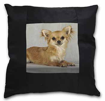 Chihuahua Black Border Satin Feel Scatter Cushion