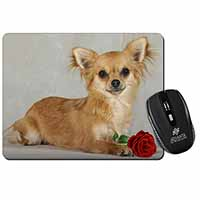 Chihuahua with Red Rose Computer Mouse Mat Birthday Gift Idea