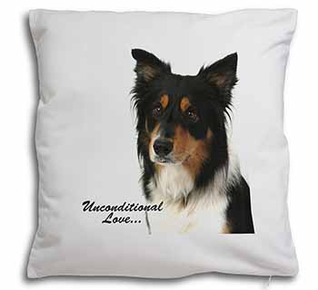 Tri-Colour Border Collie-Love Soft Velvet Feel Scatter Cushion